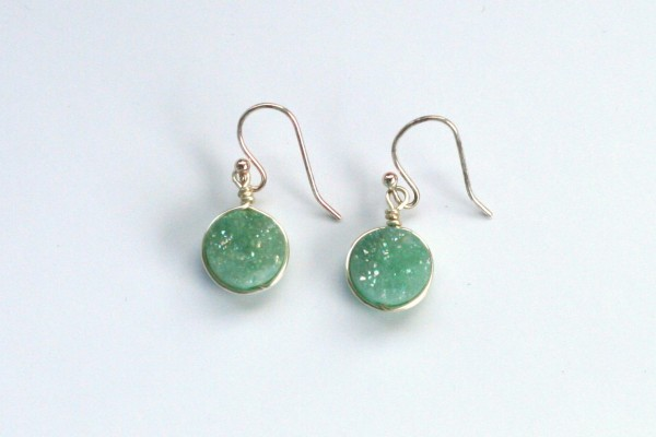 Mint green and silver druzy earrings