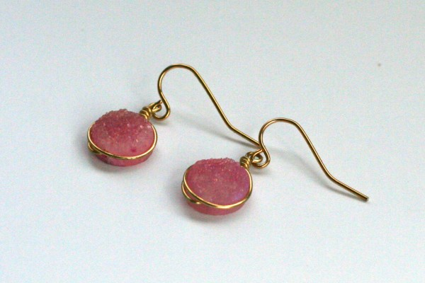 Pink and gold druzy earrings