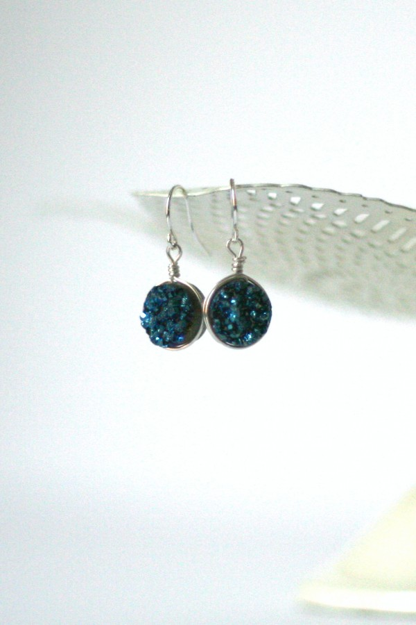 Navy blue and silver druzy earrings