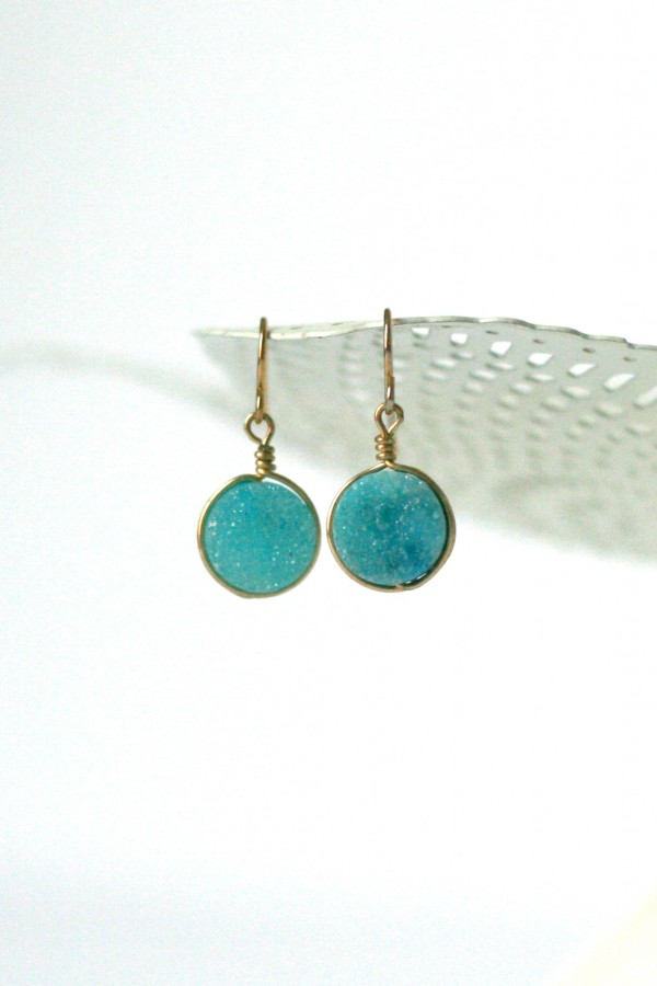 Aqua blue turquoise druzy and gold earrings