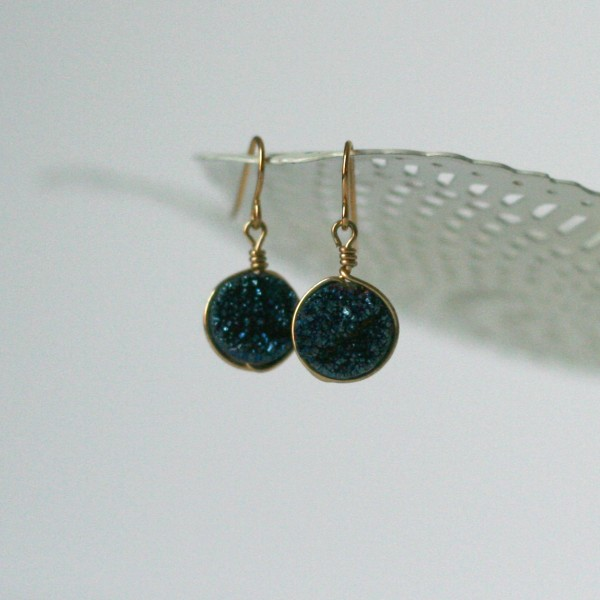 Navy blue and gold druzy earrings