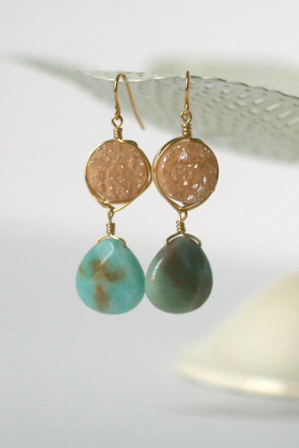 Champagne druzy and amazonite gold earrings