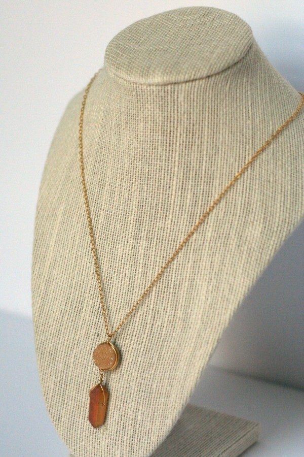 Champagne druzy and blush raw natural crystal gold pendant necklace