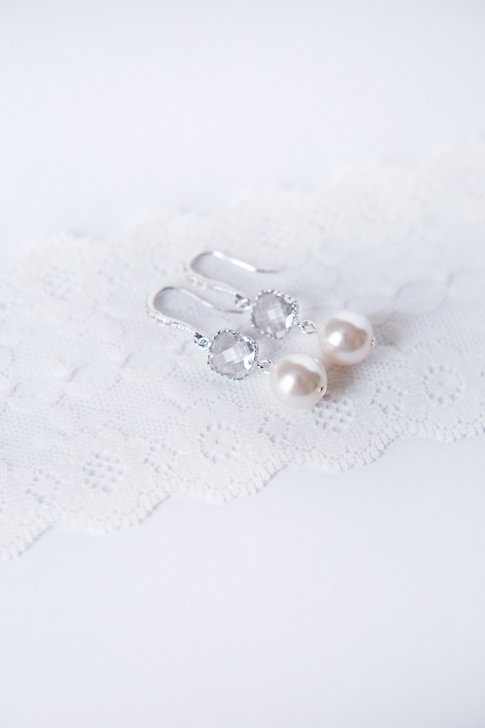 cushion cut bridal earrings