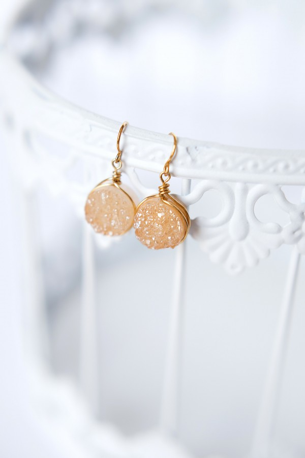 Champagne and gold druzy earrings