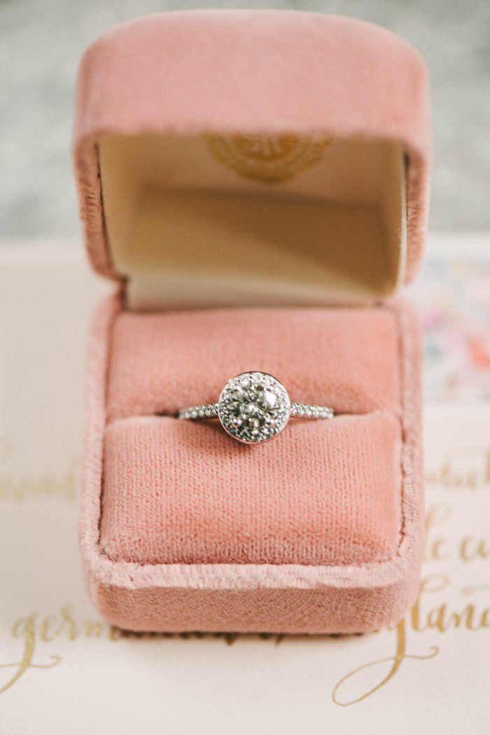 cushion cut engagement ring in pink velvet box