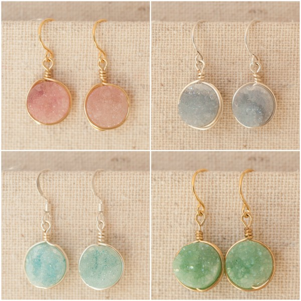 druzy, druzy jewelry, drusy jewellery, pink druzy, purple druzy, blue druzy, green druzy, druzy earrings