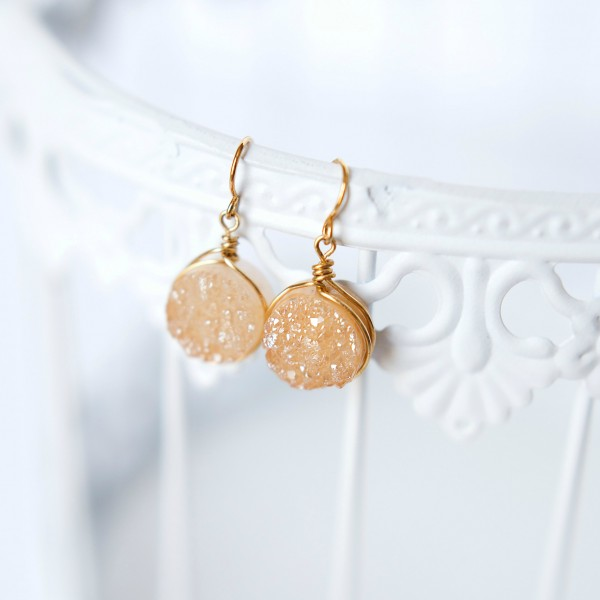 druzy, drusy, drusy earrings, druzy earrings, champagne earrings, sparkly earrings, bridal earrings, bridal jewelry, jewelry designer, couture earrings, bridal couture