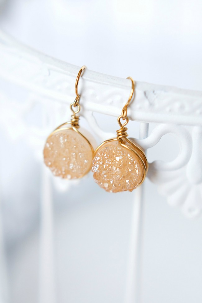 Neutral gold druzy earrings, champagne colored gemstone bridal earrings by J'Adorn Designs modern custom jewelry