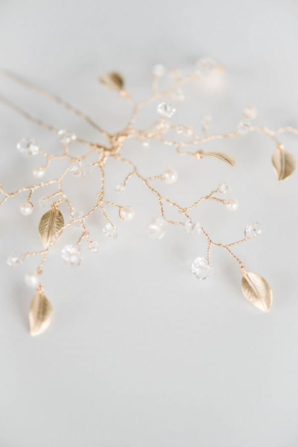 Custom bridal jewelry set by J'Adorn Designs couture and custom accessories, gold crystal and pearl bracelet earrings hair vine photography by Nichole Rosado Meredith for bride Jill Dombroskie of Tomahawk Design Co, Baltimore DC Virginia custom jeweler
