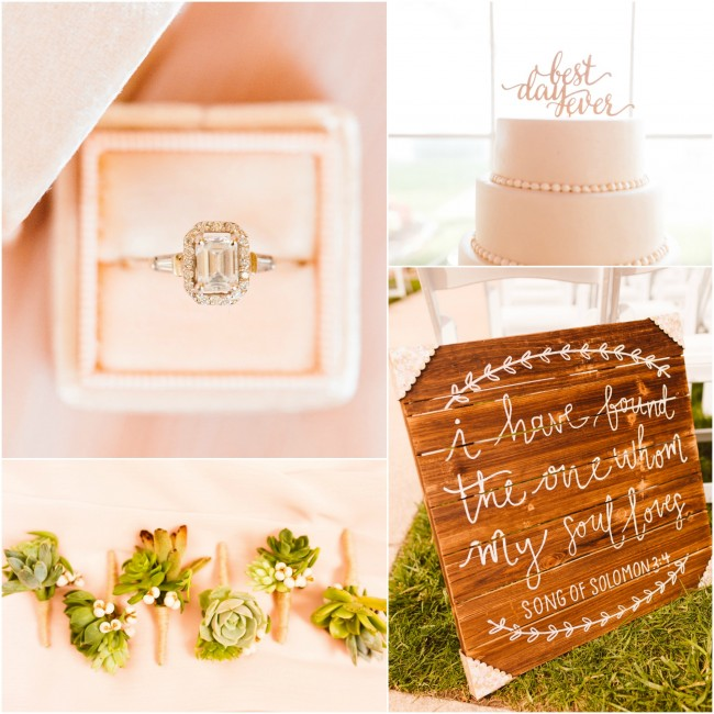 Romantic Eastern shore Maryland bayside wedding Custom and couture bridal jewelry Brooke Michelle Photography Celebrations by the Bay J'Adorn Designs Emerald cut engagement diamond ring Vintage halo wedding ring Bridal fashion Bridal couture Blush and gold bridesmaids