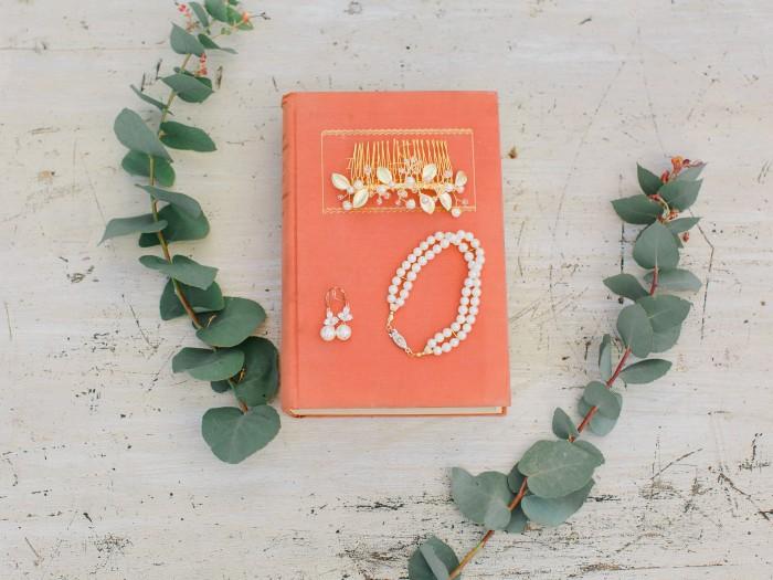 Custom jewelry for european botanical wedding by J'Adorn Designs custom modern bridal accessories