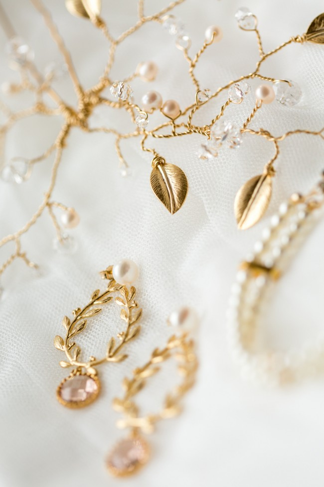 Custom bridal accessories for boho Baltimore bride, modern wedding jewelry by J'Adorn Designs