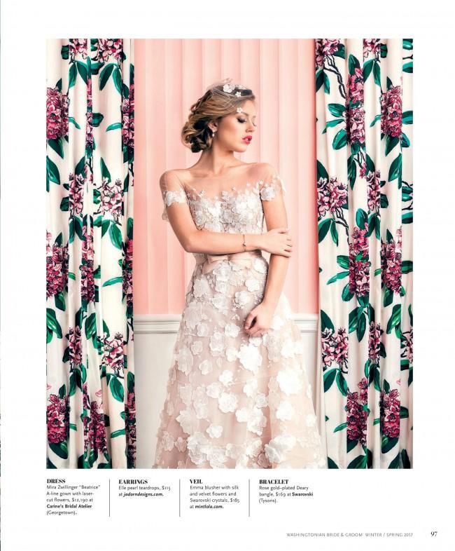 Modern Garden Wedding Style Inspiration in Washingtonian B&G with J'Adorn Designs Bridal Teardrop Earrings