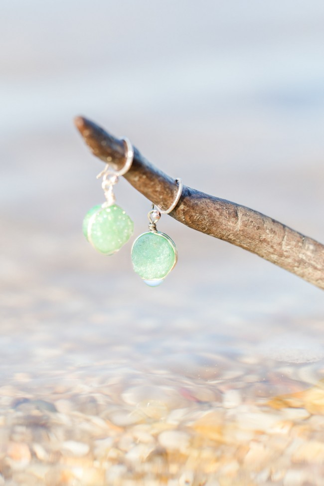 Beach wedding jewelry, mint green druzy earrings for a seaside wedding by J'Adorn Designs modern bridal jewelry