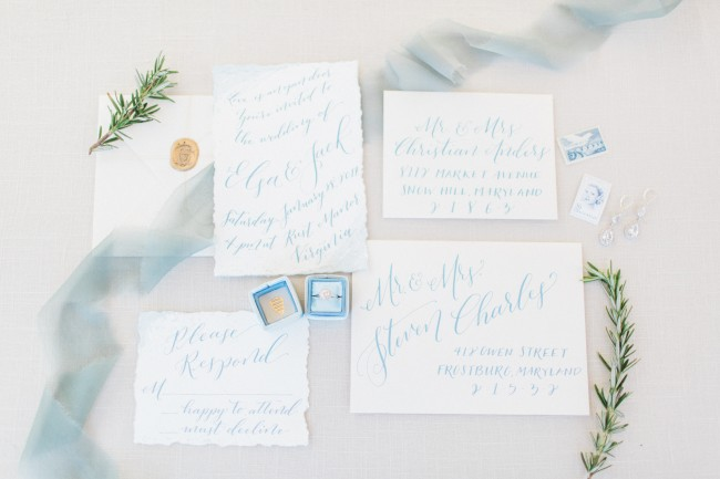 Ice blue winter wedding invitations with sparkly silver earrings and crystal hair vine by J'Adorn Designs