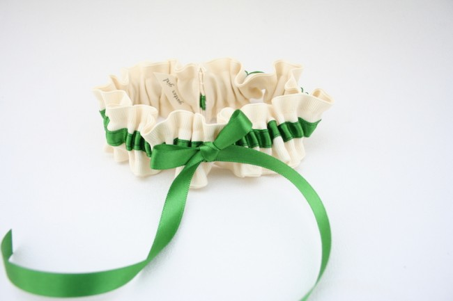 Pantone Greenery Wedding Garter by the Garter Girl, custom jewelry and wedding inspiration by J'Adorn Designs