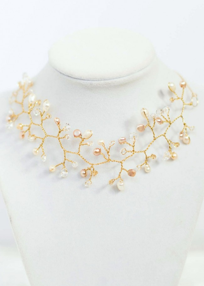Bridal Choker Vine Necklace, Wedding Choker, Couture bridal fashion by J'Adorn Designs