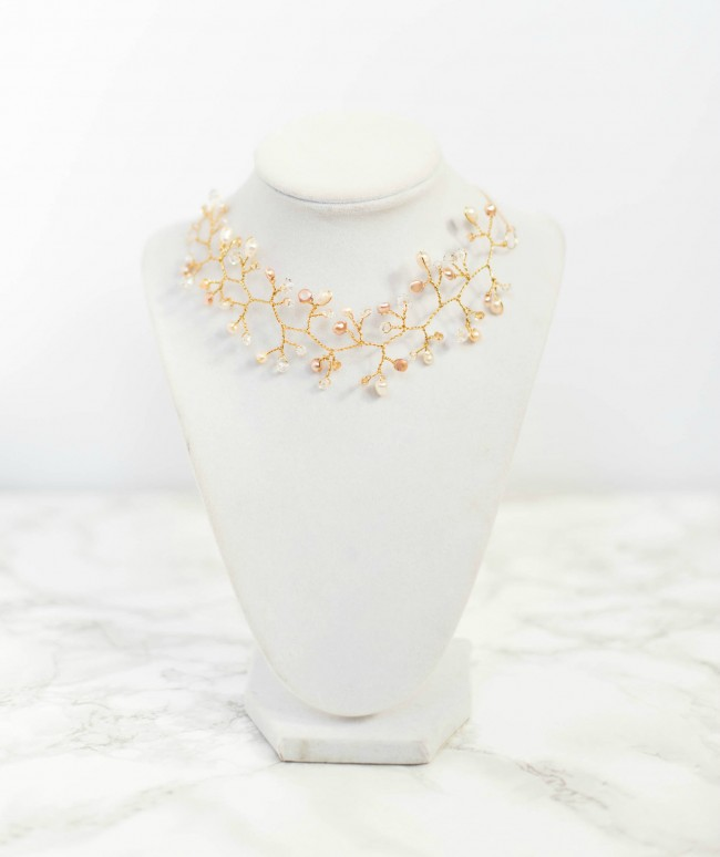 Gold bridal choker vine necklace with pearls and crystals, by J'Adorn Designs custom jewelry and modern bridal accessories