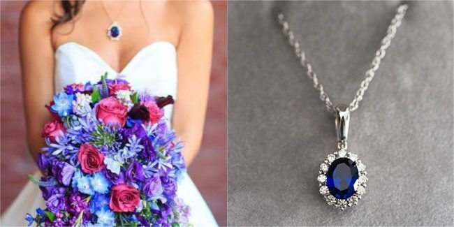 custom sapphire wedding jewelry inspiration, custom bridal necklace by J'Adorn Designs