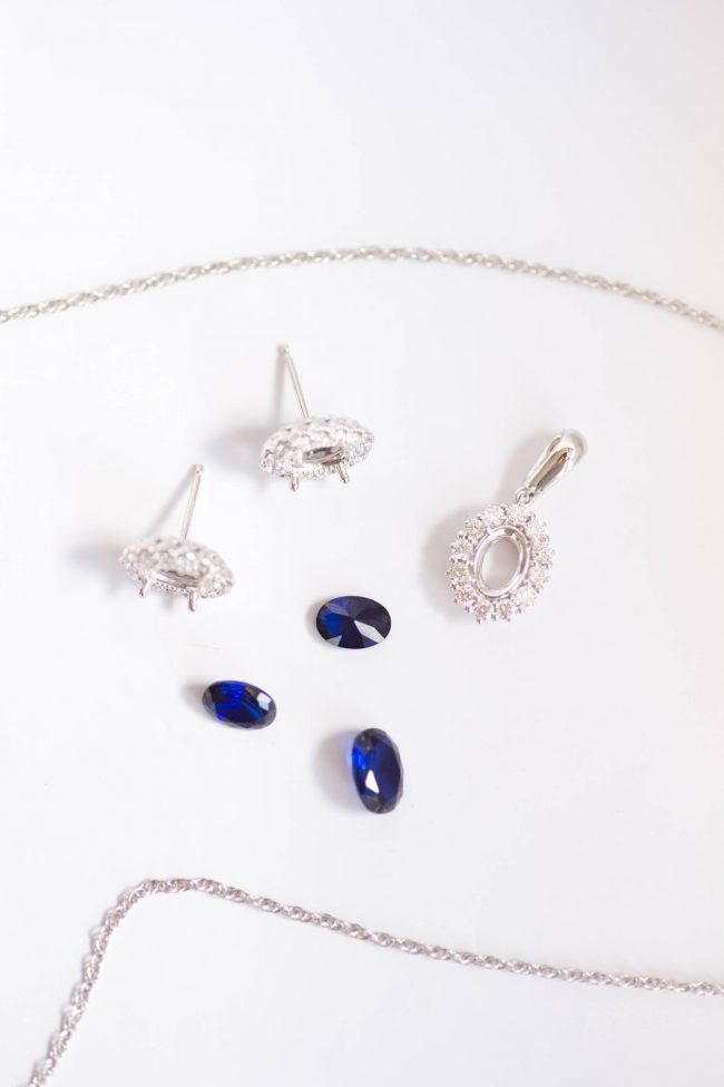Custom sapphire wedding jewelry set, fine halo wedding jewelry by J'Adorn Designs custom jewelry and modern bridal accessories