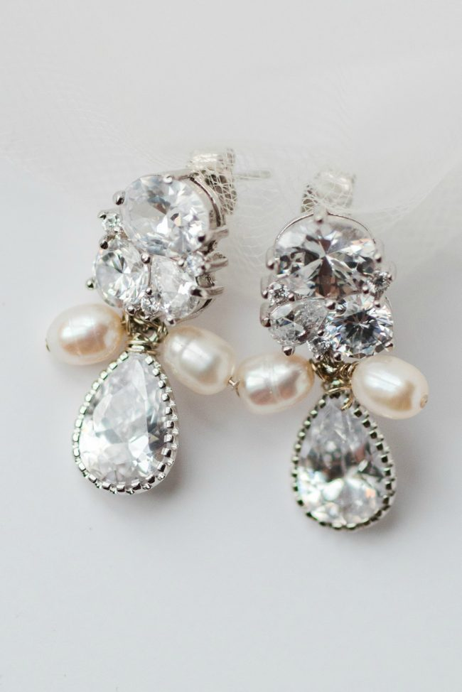 Cluster style sparkly statement earrings for sensitive ears by J'Adorn Designs bridal accessories
