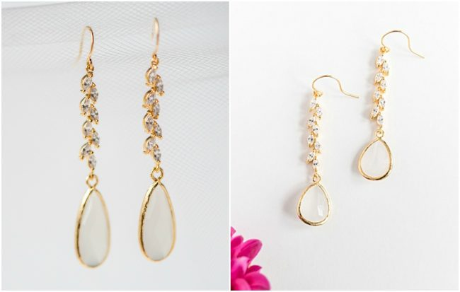 Custom bridal earrings, opal teardrops for German hochzeit wedding by J'Adorn Designs custom jewelry