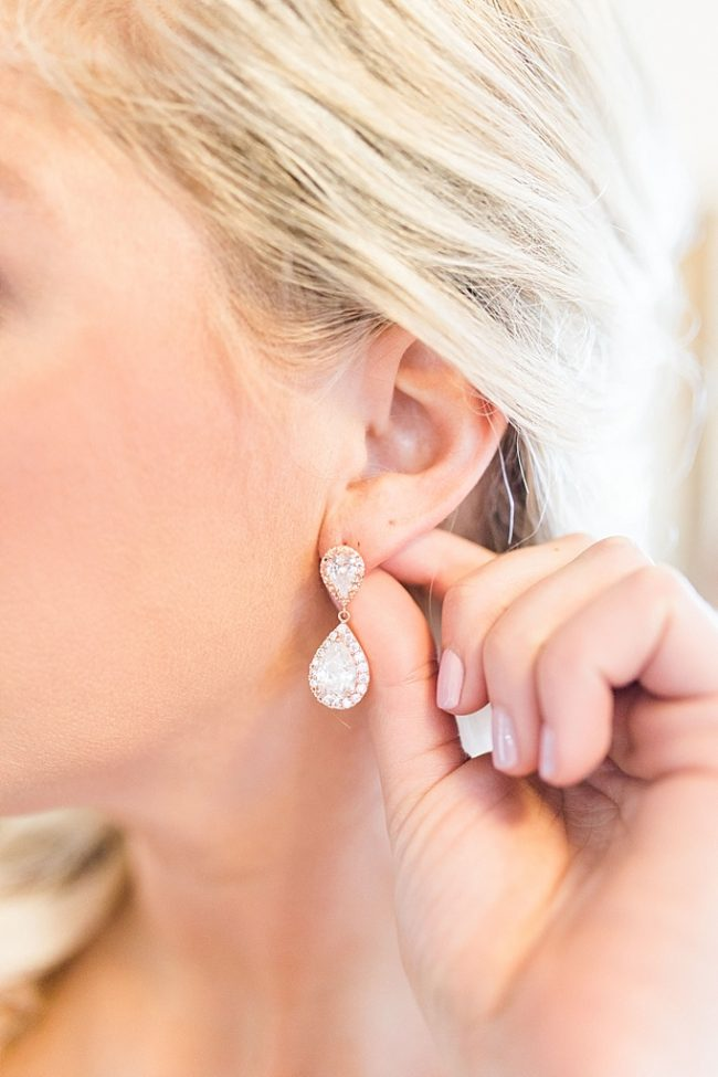 Rose Gold Teardrop statement earrings for sensitive ears by J'Adorn Designs bridal accessories