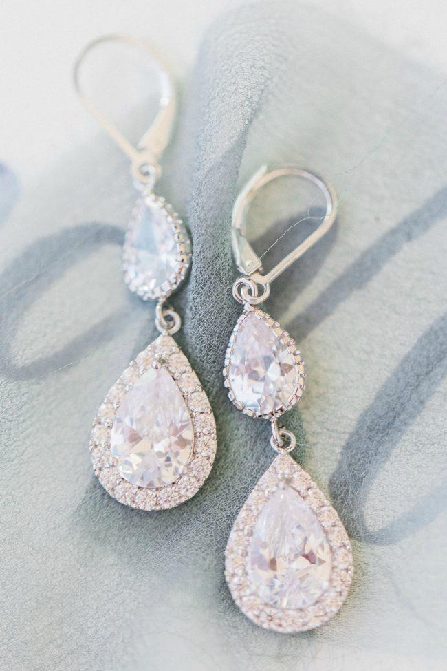 Silver Teardrop Bridal Statement Earrings for Sensitive Ears