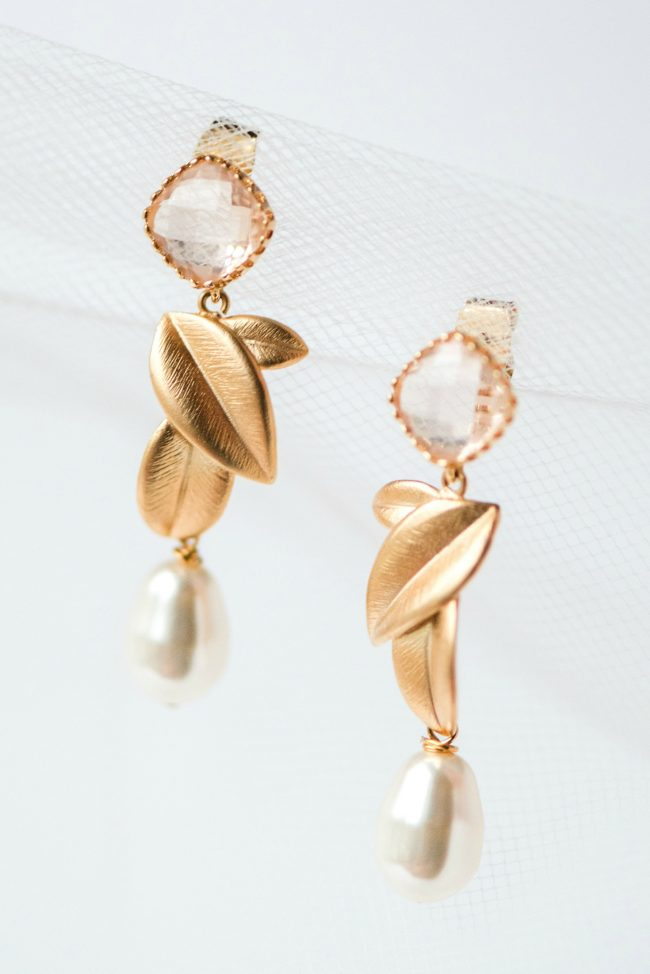 Gold and blush leaves statement earrings for sensitive ears by J'Adorn Designs bridal accessories