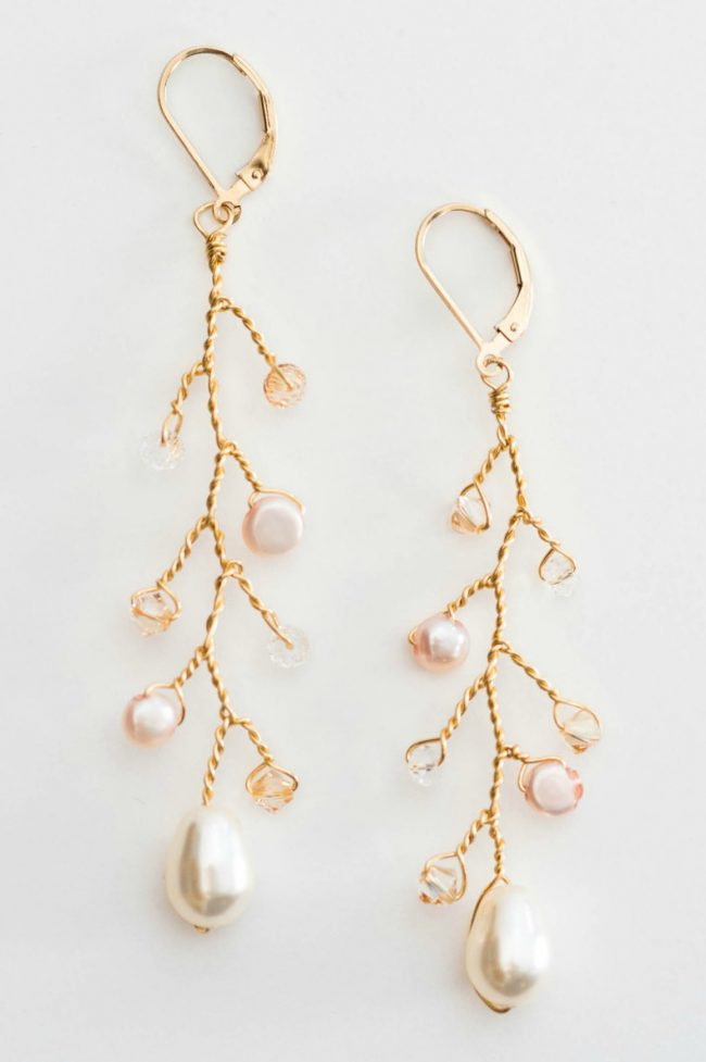 Gold vine boho statement earrings for sensitive ears by J'Adorn Designs bridal accessories