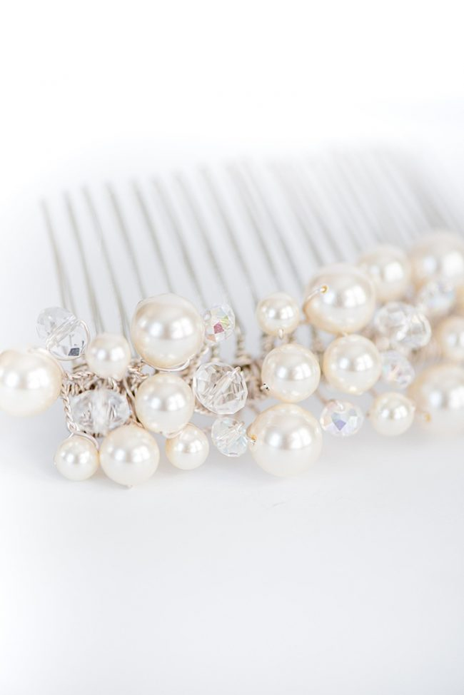 Crystal & Pearl Bridal Comb Custom Wedding Jewelry J'Adorn Designs