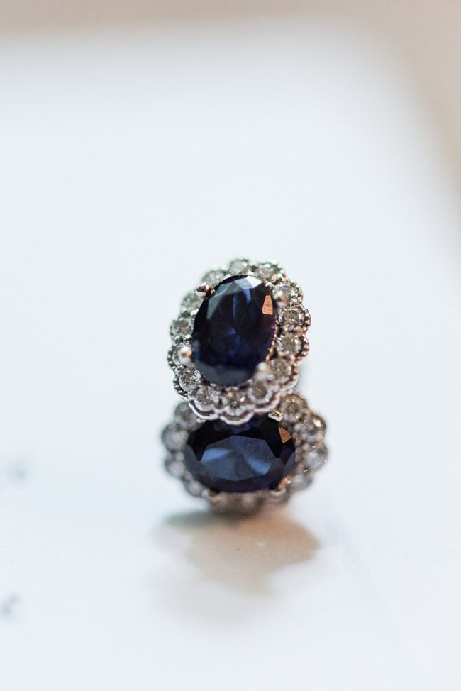 Custom sapphire halo earrings for Baltimore bride's classic wedding, by Maryland custom jewelry J'Adorn Designs