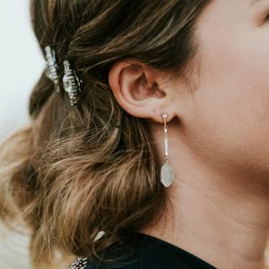Stylish holiday earrings, sweater friendly earrings, snag free jewelry, Custom jewelry and bridal accessories by J'Adorn Designs Baltimore jeweler
