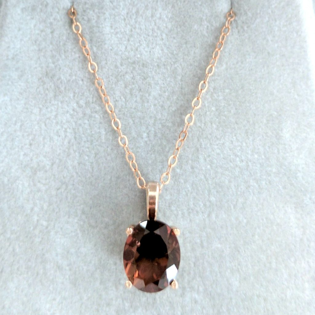 Custom rose gold sunstone necklace by J'Adorn Designs Custom Jeweler
