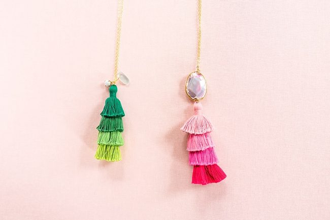 Spring jewelry pop-up featuring bright color gemstone tassel necklaces, spring jewelry trends, colorful fashion jewelry by J'Adorn Designs jewelry designer