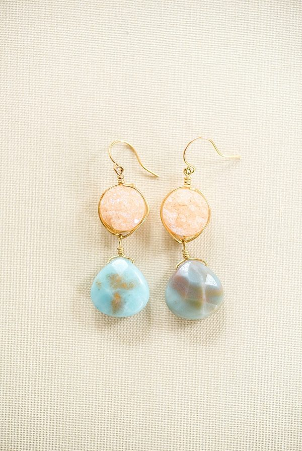 graduation present for high school senior, druzy amazonite gemstone earrings by J'Adorn Designs jewelry made in Baltimore