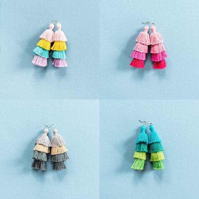 Colorful tassel earrings for a spring jewelry pop-up, fiesta jewelry, vacation jewelry, spring jewelry trends, colorful fashion jewelry by J'Adorn Designs jewelry designer
