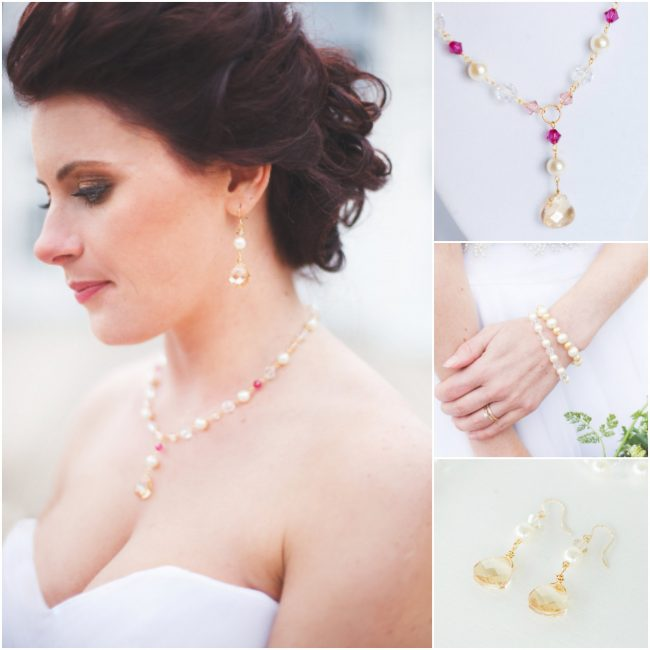Purple pink and gold bridal jewelry, luxury bridal fashion inspiration at a Virginia winery, custom bridal accessories by J'Adorn Designs