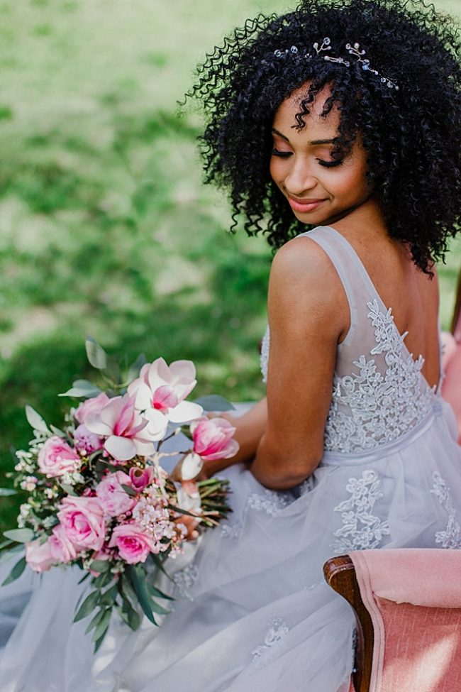 Spring wedding in Baltimore inspiration, cherry blossoms wedding ideas featuring custom bridal accessories for African American bridal fashion by J'Adorn Designs
