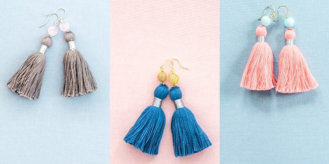 Small tassel earrings with gemstone accents, handcrafted locally made jewelry by J'Adorn Designs in Baltimore Maryland