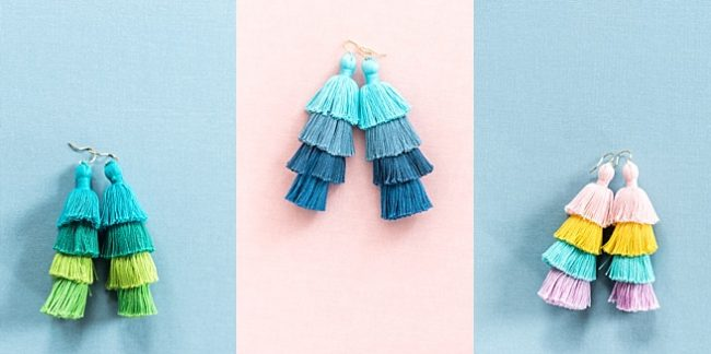 Ombre tassel earrings, rainbow tiered tassel earrings, spring 2018 jewelry fashion trends, j'adorn designs custom jewelry