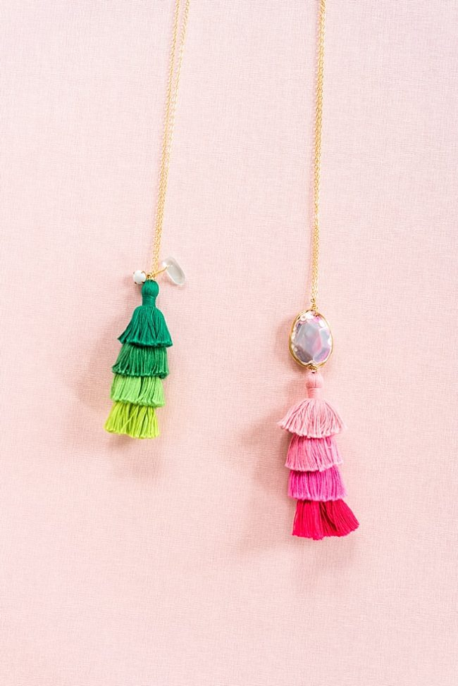 Ombre tassel necklaces, long charm necklaces with tassels, pink and green tassel jewelry, j'adorn designs custom jewelry