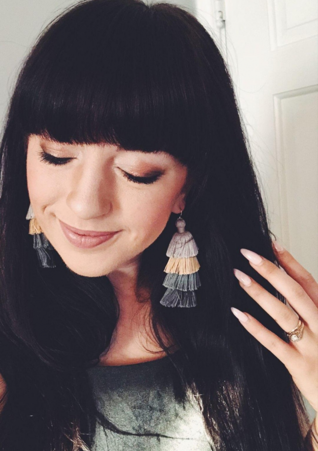 Neutral grey tassel earrings by J'Adorn Designs designer jewelry