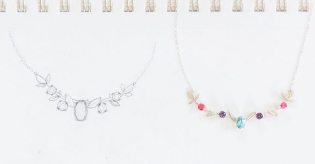 family tree branch necklace with colorful birthstone gems, anniversary gift, jewelry push present, made by J'Adorn Designs custom jeweler