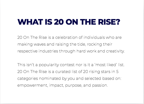 20 on the rise finalist Alison Jefferies, Top Designer, emerging creative entrepreneur