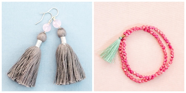 gray tassel earrings and coral and green tassel bracelet jadorn designs custom jewelry