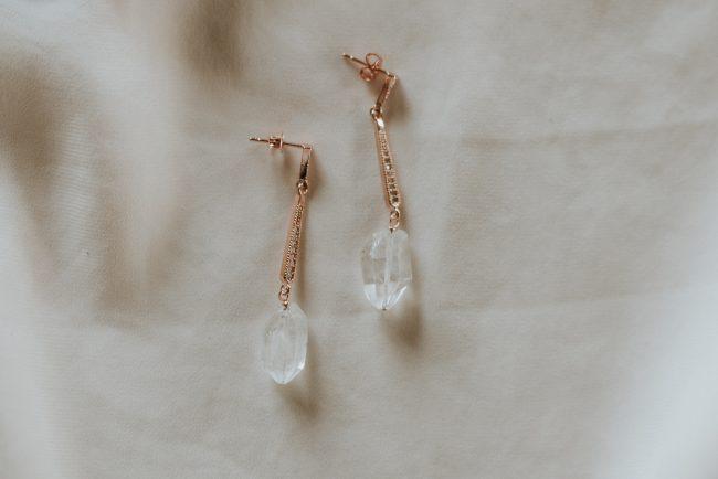custom original rose gold deco raw crystal inspiration earrings jadorn designs custom jewelry