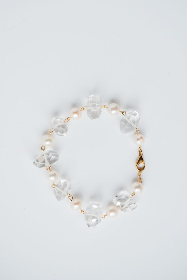 Crystal quartz and freshwater pearl bracelet, handcrafted jewelry by Maryland jewelry artisan J'Adorn Designs featured at Baltimore Museum of Art