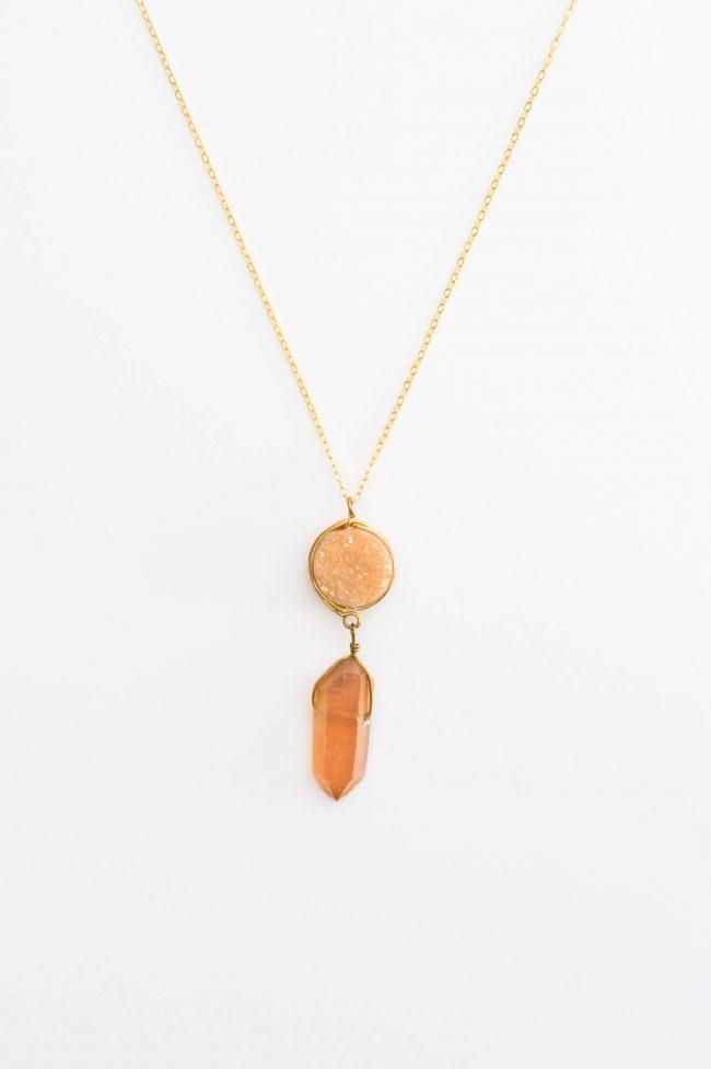 Gold druzy and raw crystal pendant necklace, handcrafted jewelry by Maryland jewelry artisan J'Adorn Designs featured at Baltimore Museum of Art